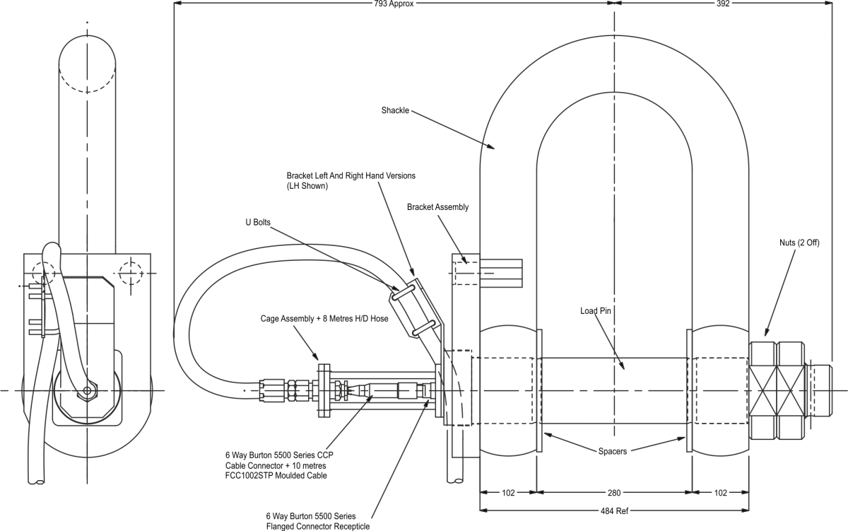 lcm3064 load shackle dimensions