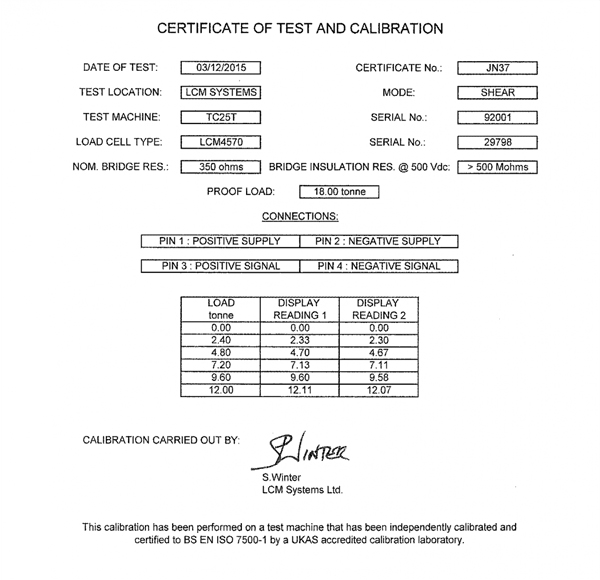 lcm4570 load shackle calibration certificate