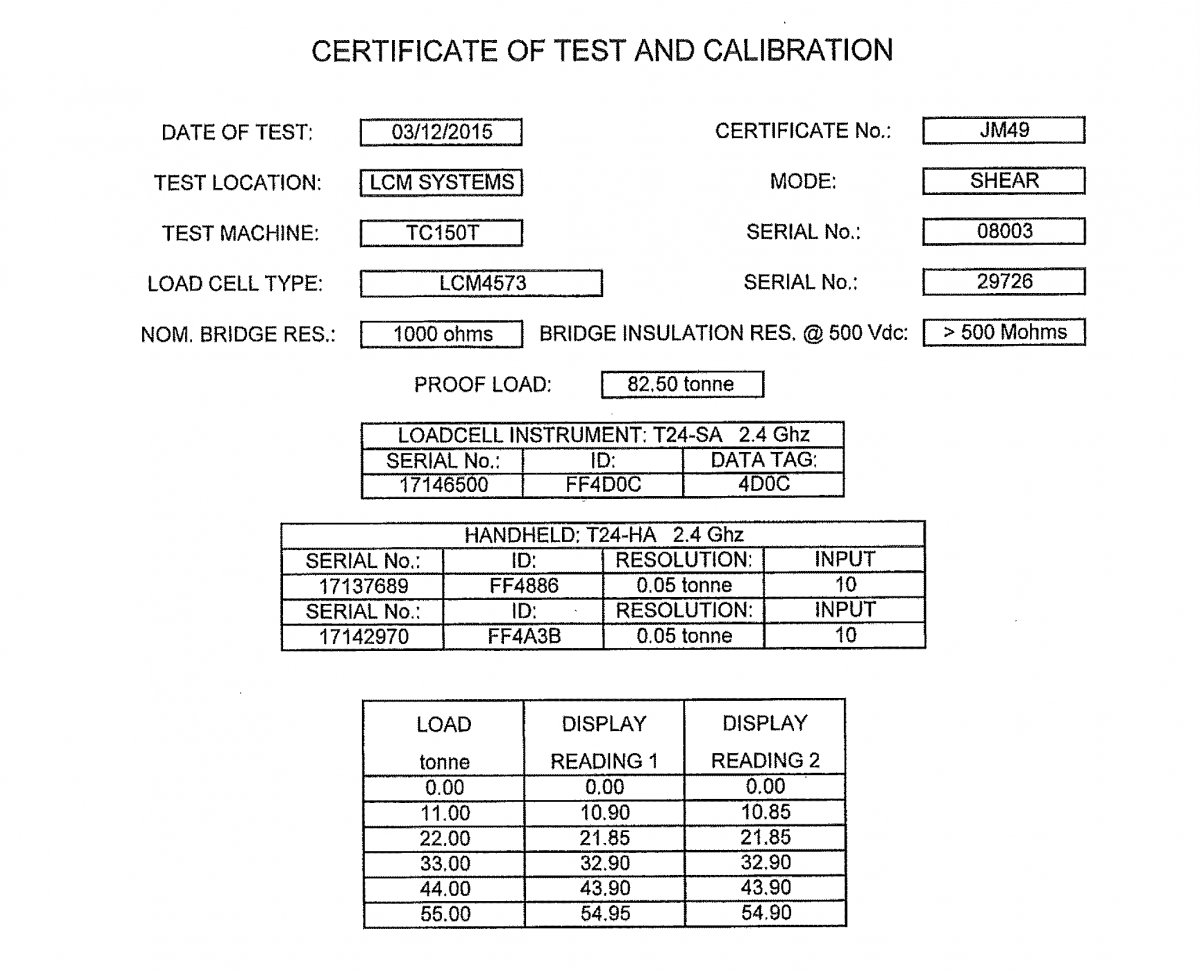 lcm4573 low temperature load shackle calibration certificate