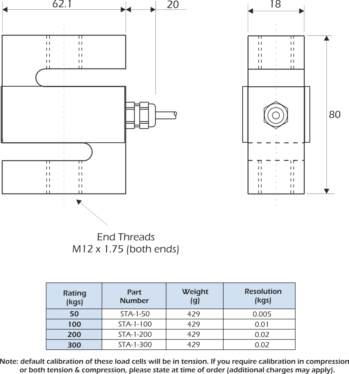 sta-1 load cell dimensions