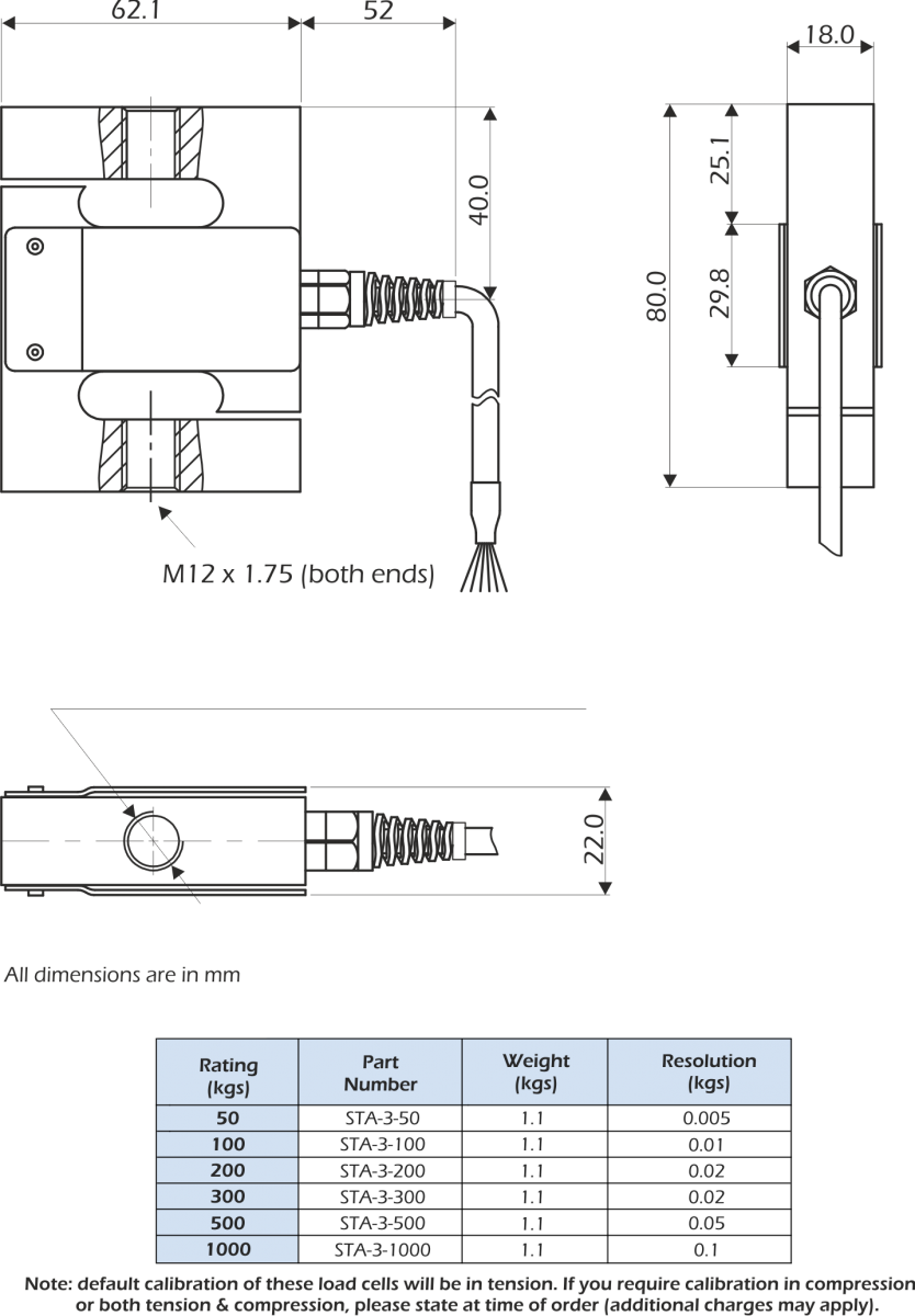 sta-3 load cell dimensions